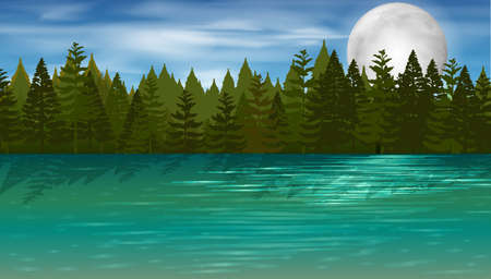 Background scene with pine trees by the lake illustration
