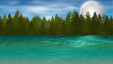 Scène de fond avec des pins par le lac illustration Banque d'images - 96111964