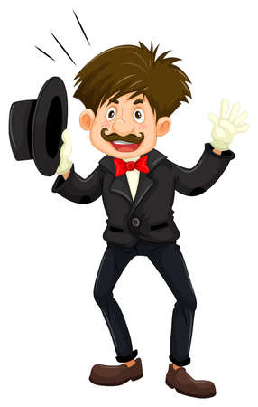 Magician in black tuxedo illustration isolated on plain background.