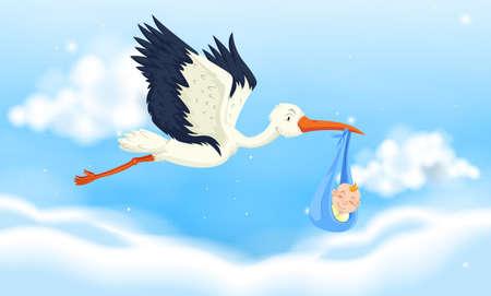 Crane flying with baby boy in sky illustration Çizim