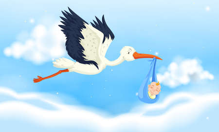 Crane flying with baby boy in sky illustration Illustration
