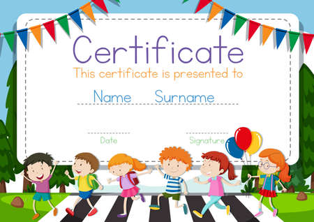 Certificate template with children crossing road background illustration
