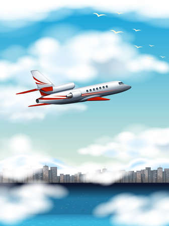 Scene with airplane flying over city at day time illustration
