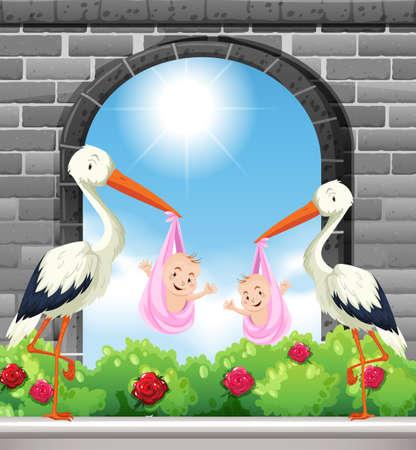 Two birds deliver baby girls illustration  イラスト・ベクター素材
