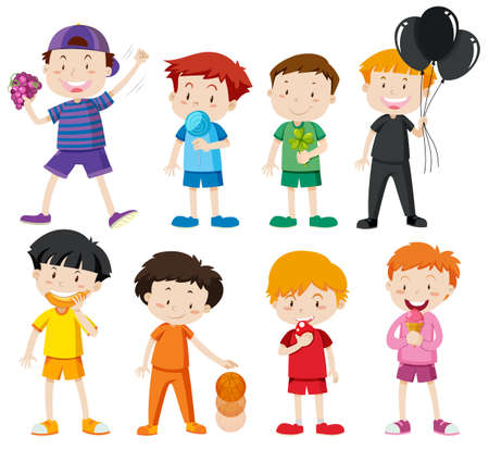 Boys in different color shirts illustration