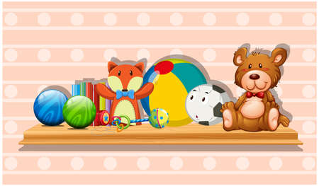 Many cute toys on wooden board illustration