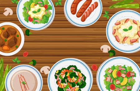 Different types of food on wooden board illustration Illustration