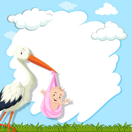 Border template with bird and baby in park illustration Illustration