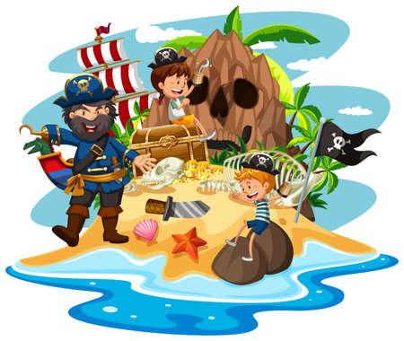 Ocean scene with pirate and children on treasure island illustration Stock Illustratie