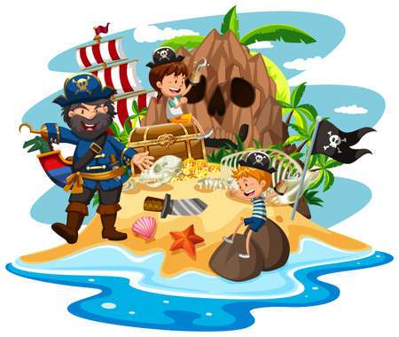 Ocean scene with pirate and children on treasure island illustration Vettoriali