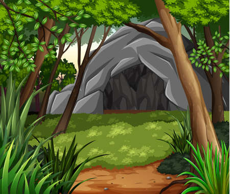 A Background scene with cave in forest illustration