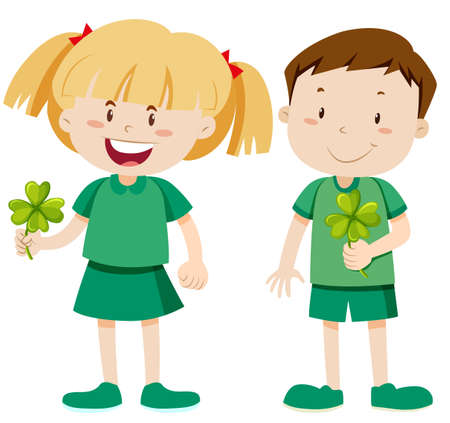 Boy and girl holding shamrocks illustration Illustration