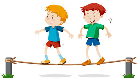 Two boys on balancing rope illustration