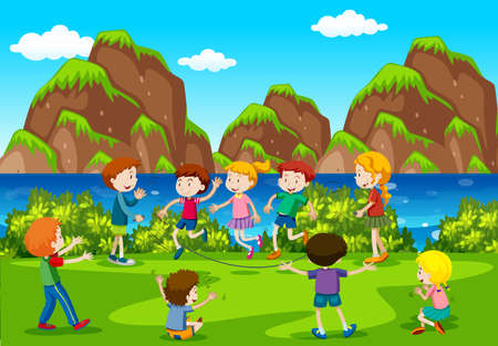 Many kids playing in the field illustration