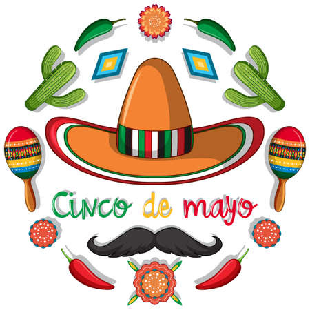 Cinco de mayo card template with mexican decorations illustration Иллюстрация