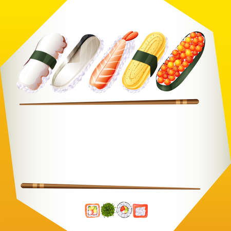 Border template with sushi rolls illustration