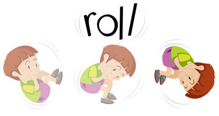 Boy in rolling action illustration