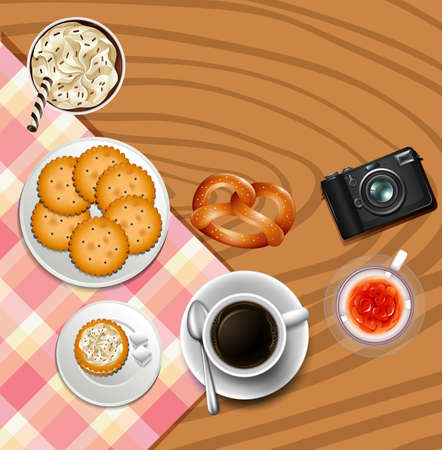Background design with crackers and drinks illustration