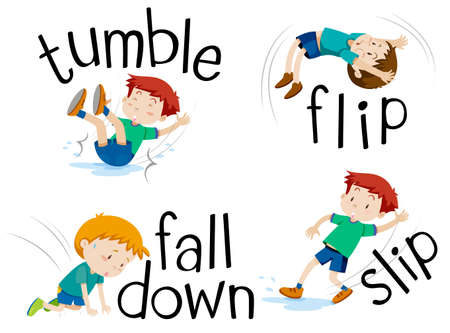 Boy flipping and falling down illustration