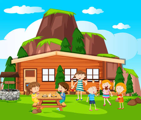 Scene with kids having picnic by the cottage illustration