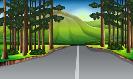 Background scene with trees along the road illustration