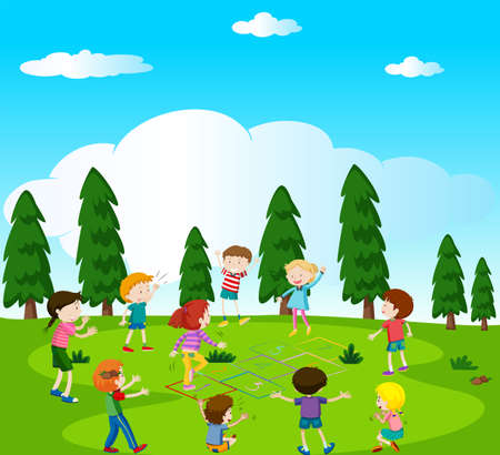 Happy kids playing hopscotch in the park illustration