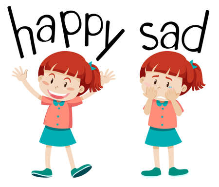 Opposite words for happy and sad illustration  イラスト・ベクター素材
