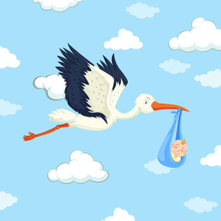 Stork delivering baby boy illustration