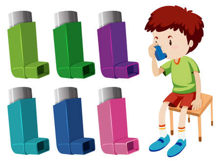 Boy with asthma with different asthma inhalers illustration Stock Illustratie