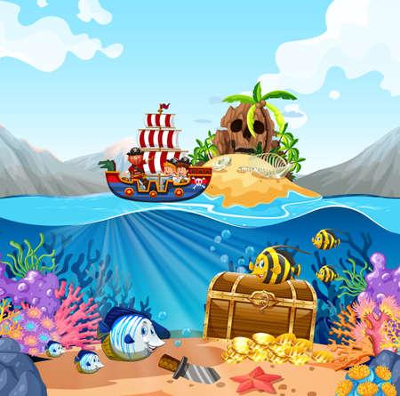 Ocean scene with kids on viking ship illustration