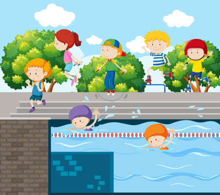 Kids playing different sports at the park illustration Illustration