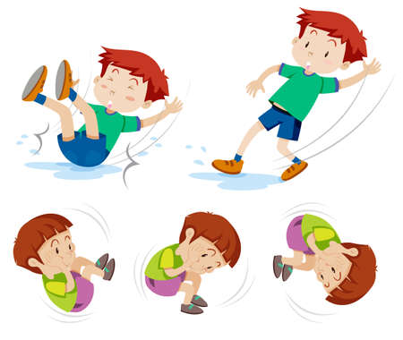 Boys in five different actions illustration Stock Illustratie