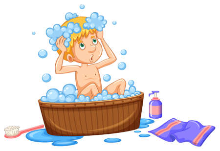 Boy taking bath in brown tub illustration Ilustração