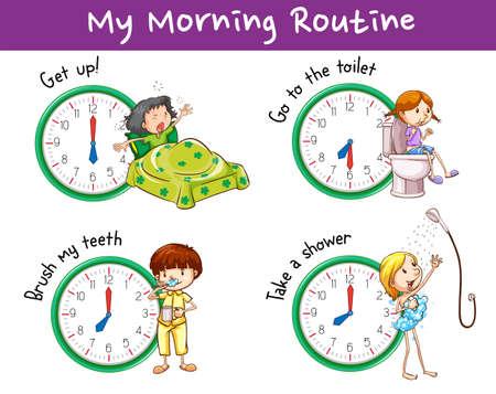 Design poster con routine mattutina per l'illustrazione dei bambini Vettoriali