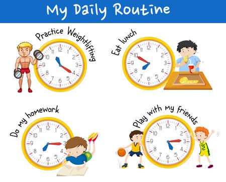 asistencia diaria para diferentes personas con amarillo relojes ilustración