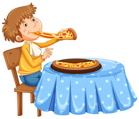 Man eating pizza on the table illustration