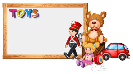 Board template with cute toys illustration Vectores