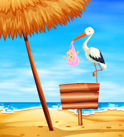 Stork baby delivering baby girl with ocean in background illustration Ilustração