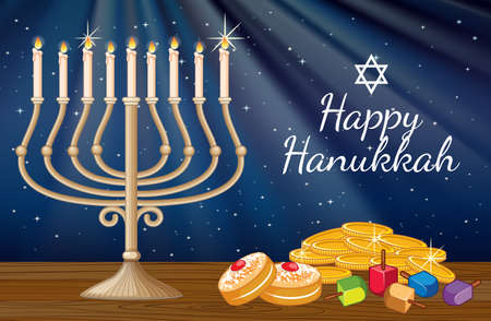 Happy Hanukkah card template with candlelights and decorations illustration