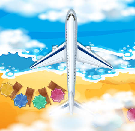 Scene with airplane flying over the ocean illustration
