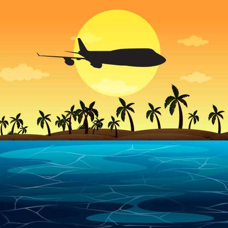 Silhouette scene with airplane flying over ocean illustration Illustration