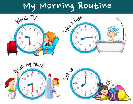 Different morning routines at different times illustration  イラスト・ベクター素材