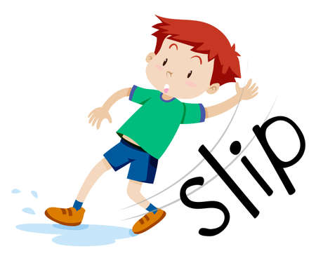 Boy slipping on the wet floor illustration Ilustração