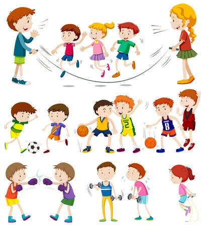 Children playing different sports illustration Illustration