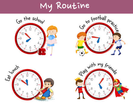 Different routines on poster with kids and activities illustration