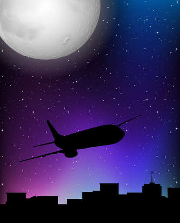 Silhouette scene with airplane flying at night illustration