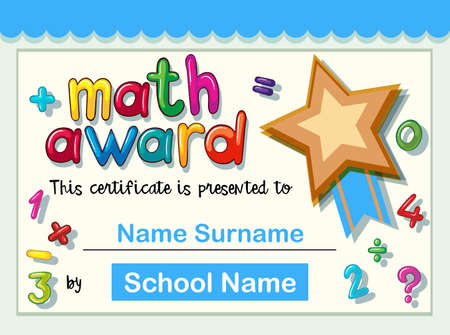 Certificate template for math award with golden star illustration