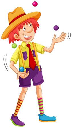 Funny man juggling balls illustration