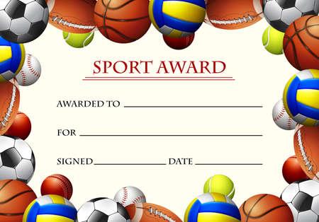Certificate template for sport award illustration