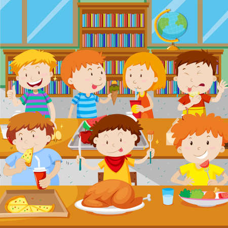 School children having lunch in the canteen illustration Illustration